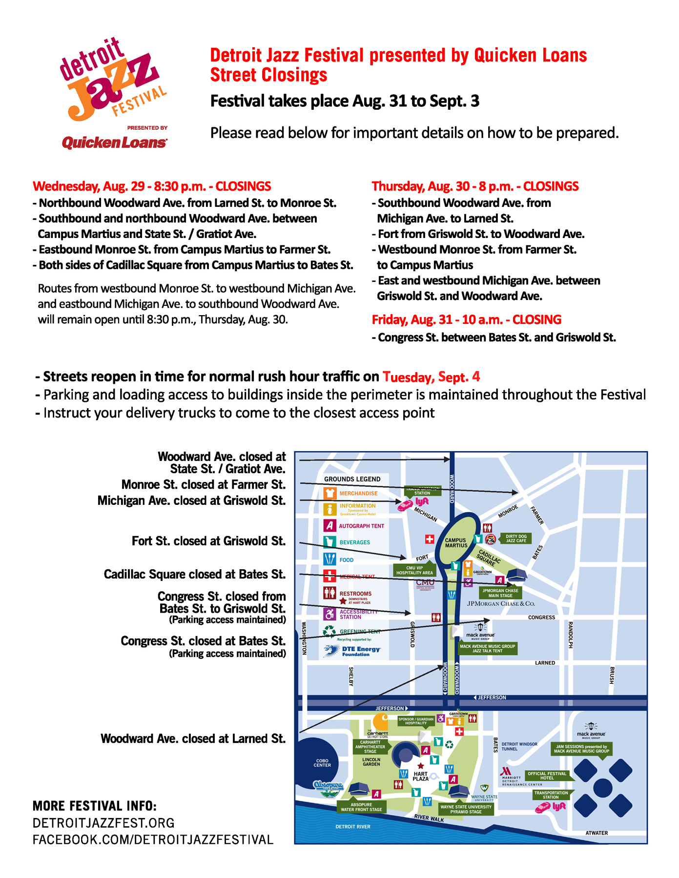 Updated Festival Footprint and Road Closures – Detroit Jazz Fest on